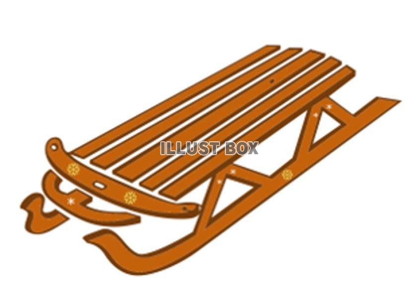無料イラスト スキー場スノーボード木製そりリフト