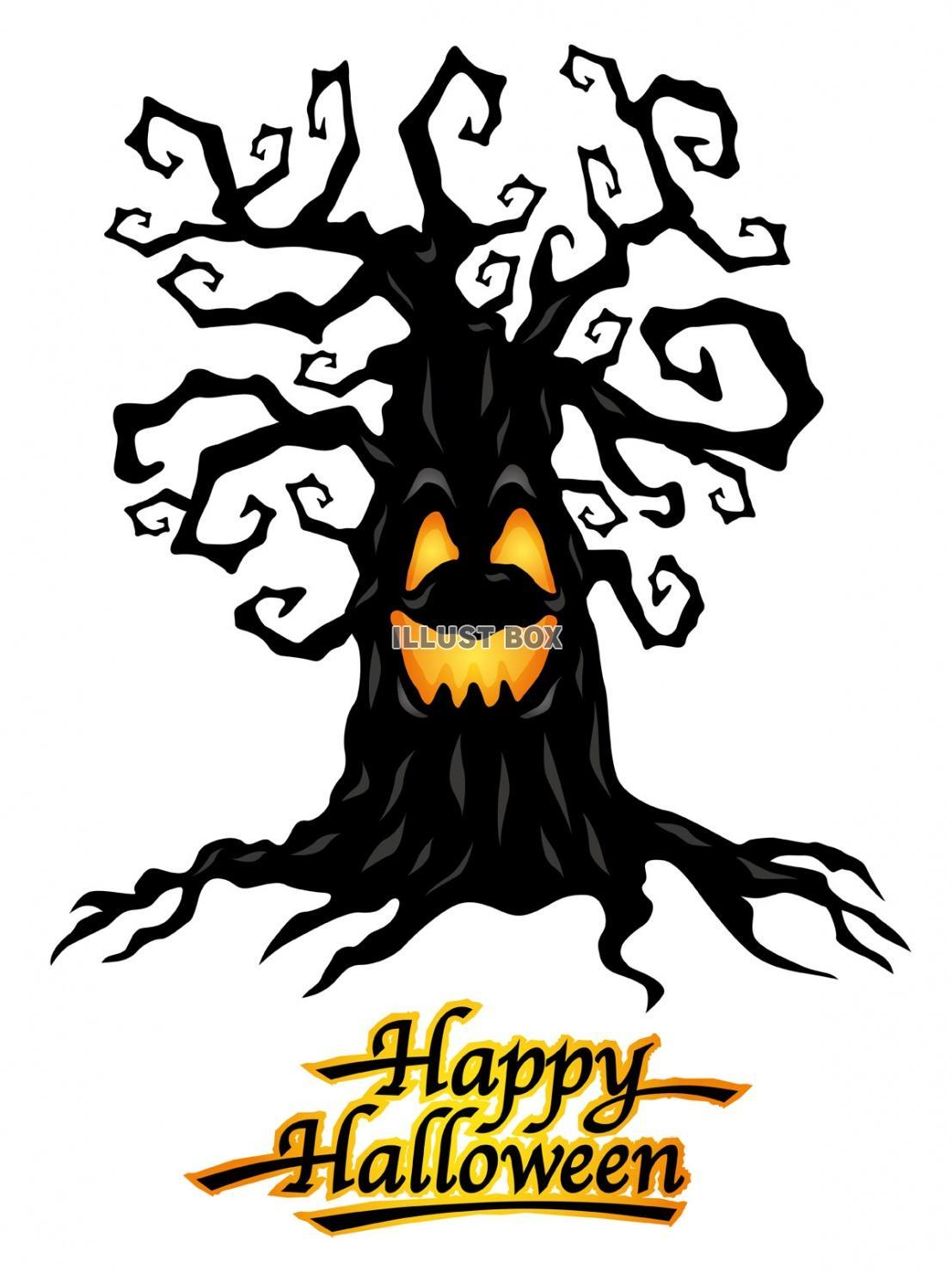 無料イラスト ハロウィーンのキャラクター 「呪われた木」