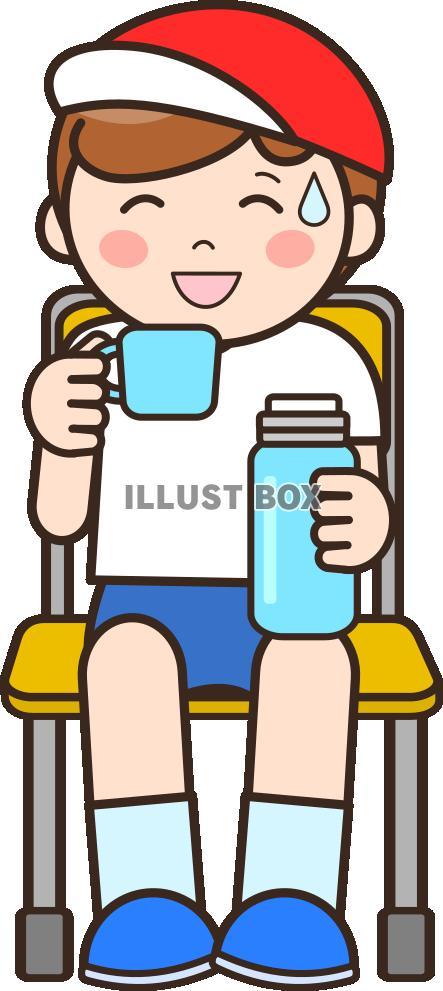無料イラスト 水分補給する男の子b