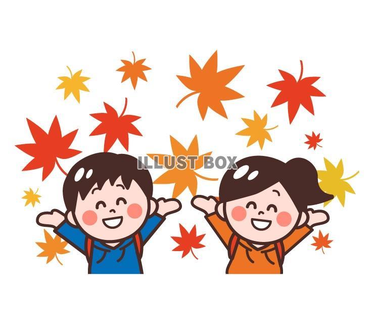 無料イラスト 秋に紅葉狩り、ハイキング、遠足に来た女の子