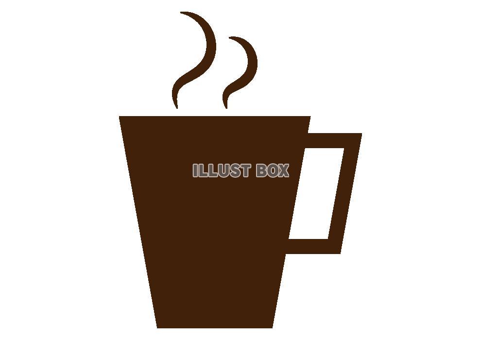 無料イラスト 湯気の立つコーヒーカップのシルエットアイコン