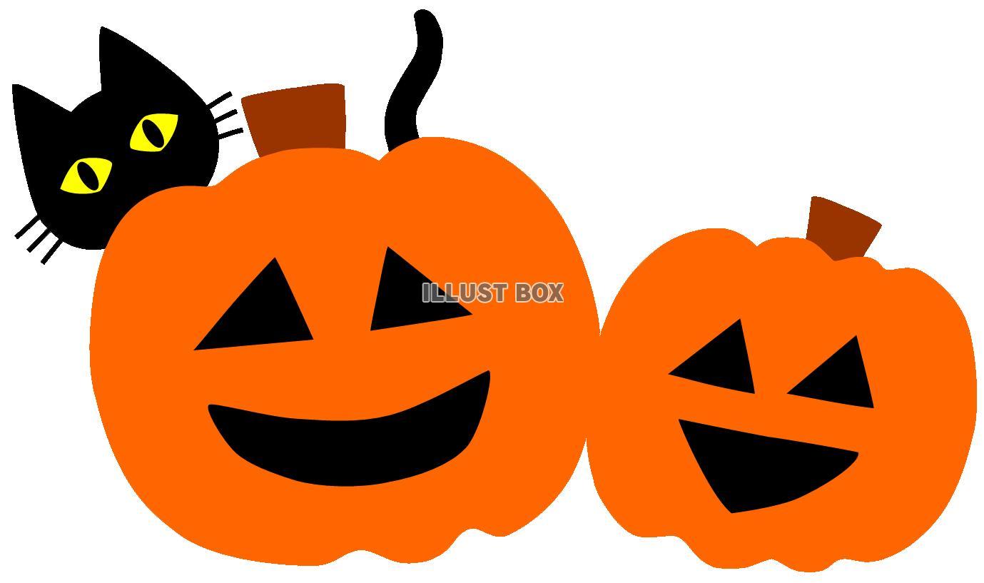 無料イラスト かぼちゃおばけとネコハロウィンジャックランタン秋