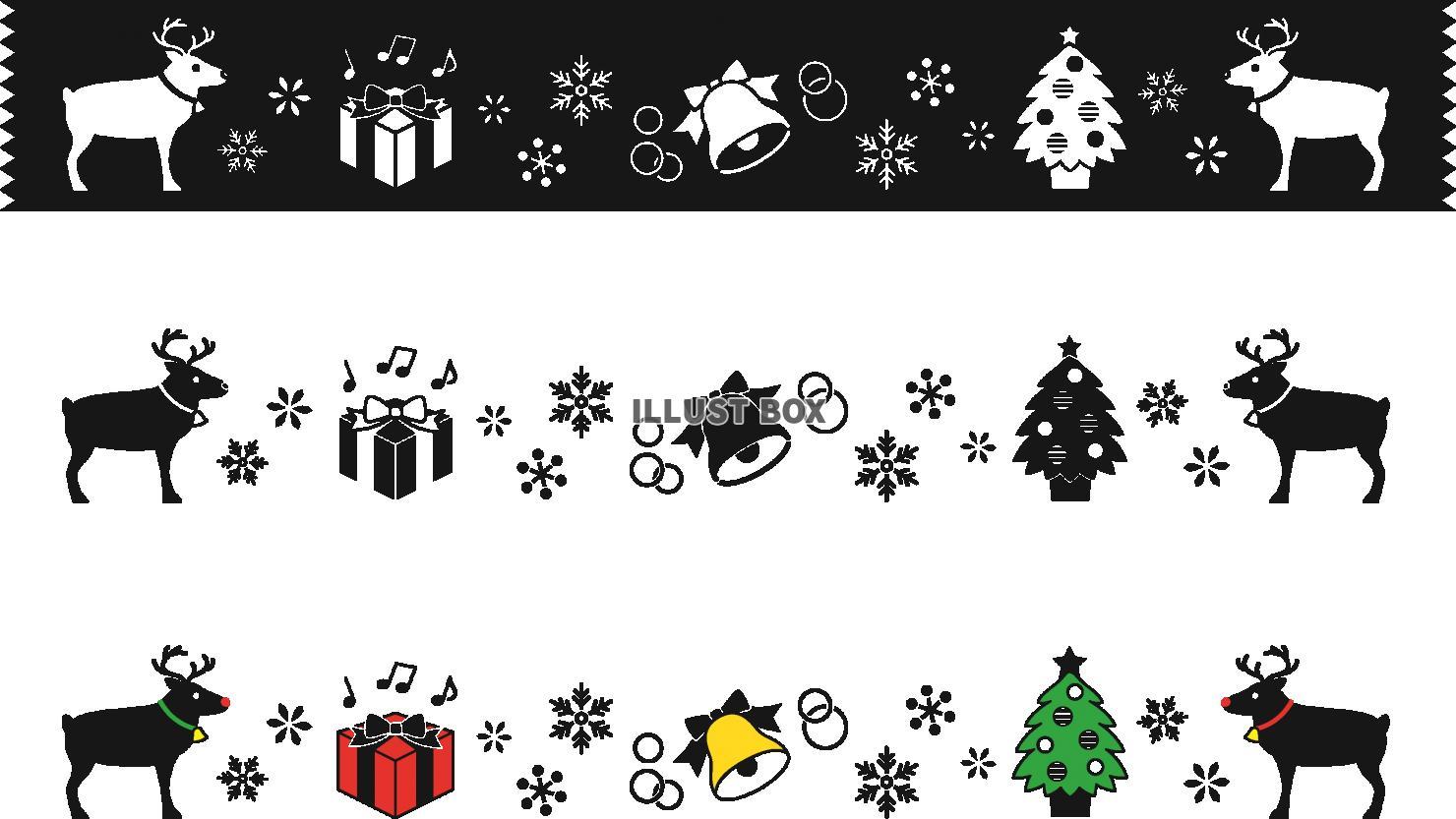 無料イラスト クリスマスのラインモノクロ系セット