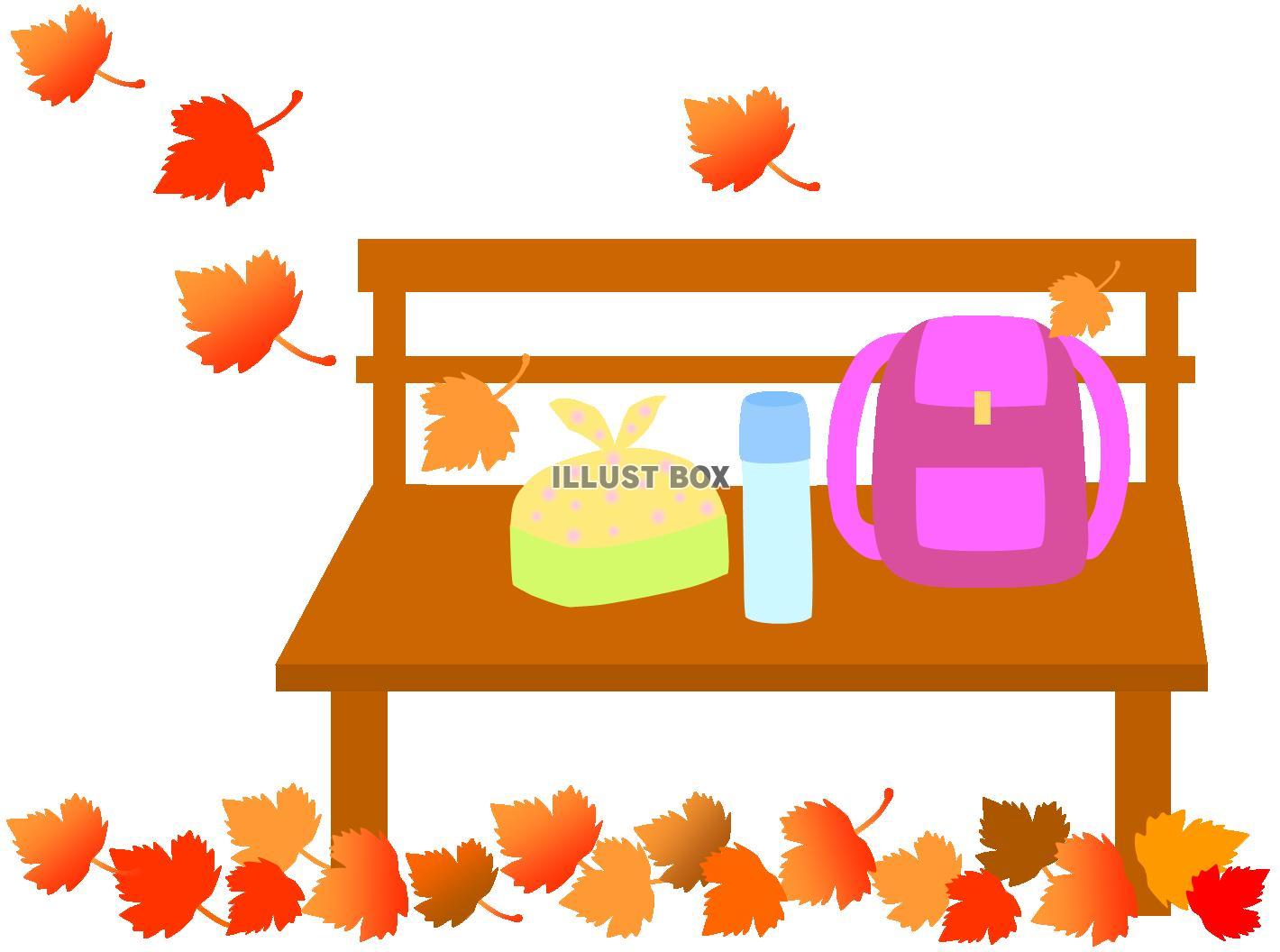 無料イラスト 秋のベンチとお弁当(遠足、行楽、紅葉、落ち葉