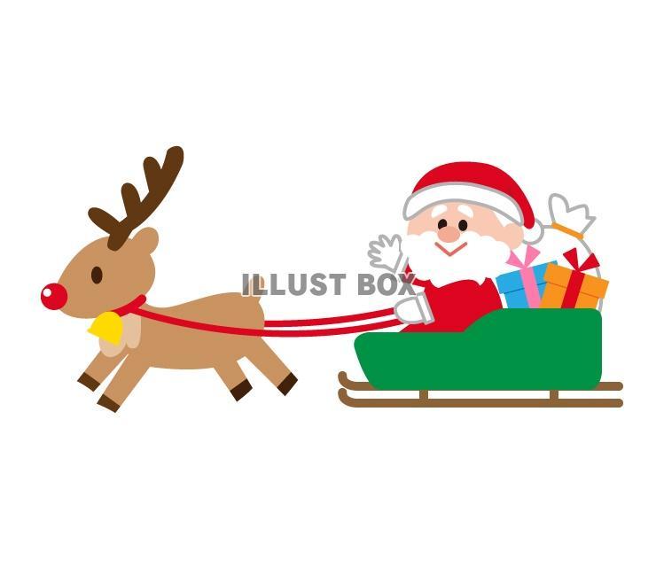 無料イラスト トナカイとサンタクロースのクリスマスイラスト