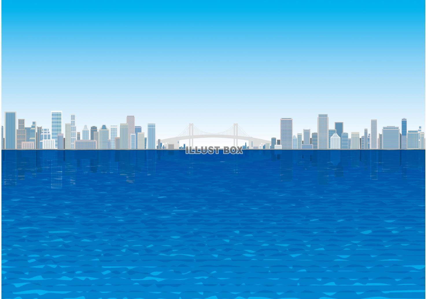 無料イラスト 海と都会 ビル群