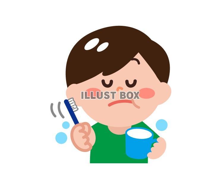 無料イラスト 歯磨きをする男の子