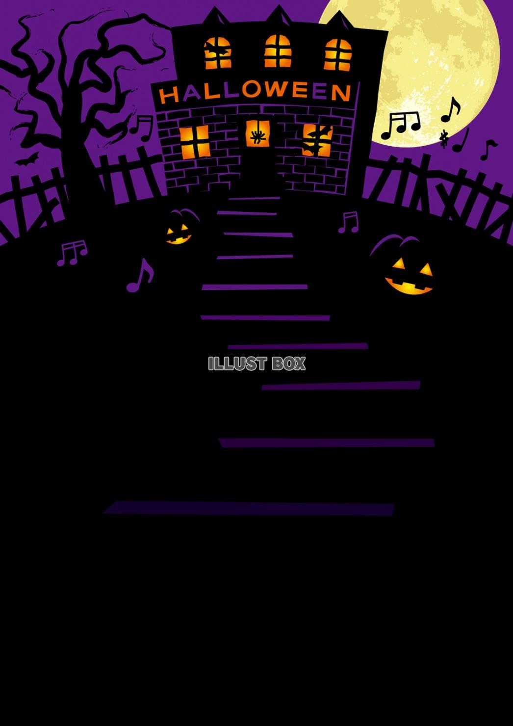 無料イラスト ハロウィンパーティーイベントの背景壁紙フレーム樹木夜