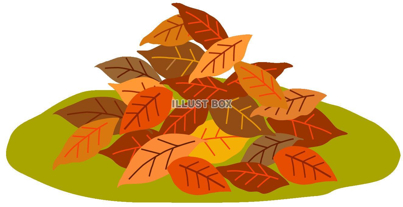 無料イラスト 落ち葉2秋冬枯れ葉草むら