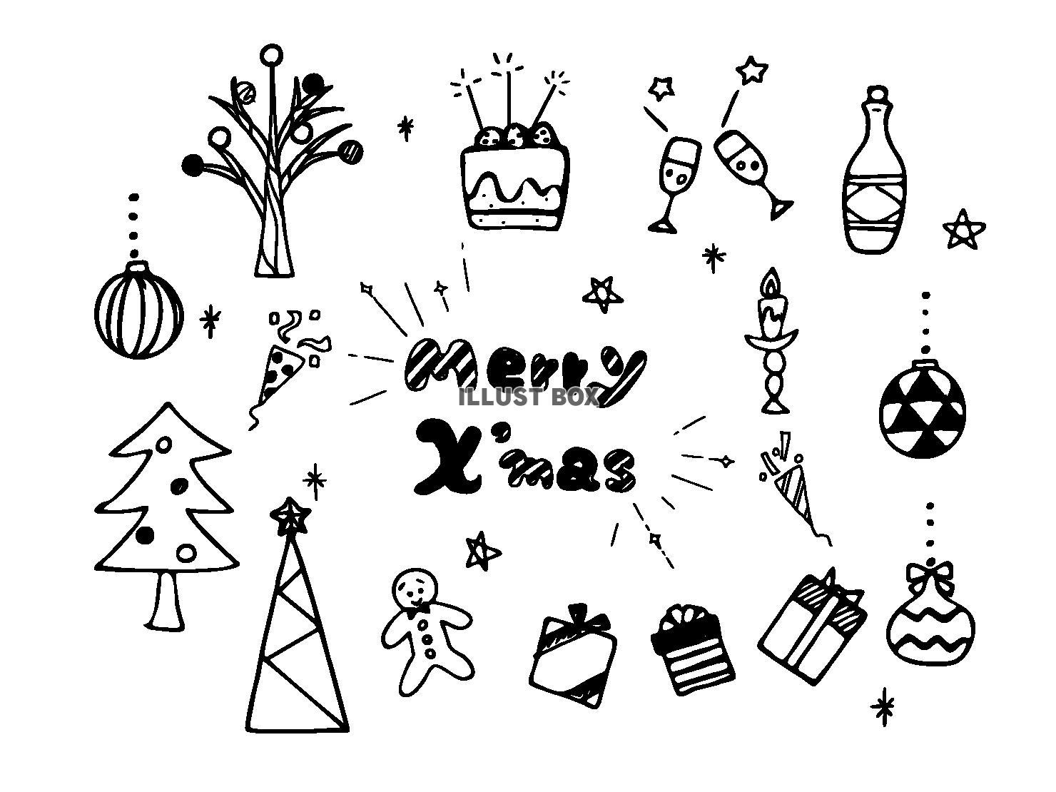 クリスマスカラーのお祝いクラッカーのかわいい手書きイラスト素材 て