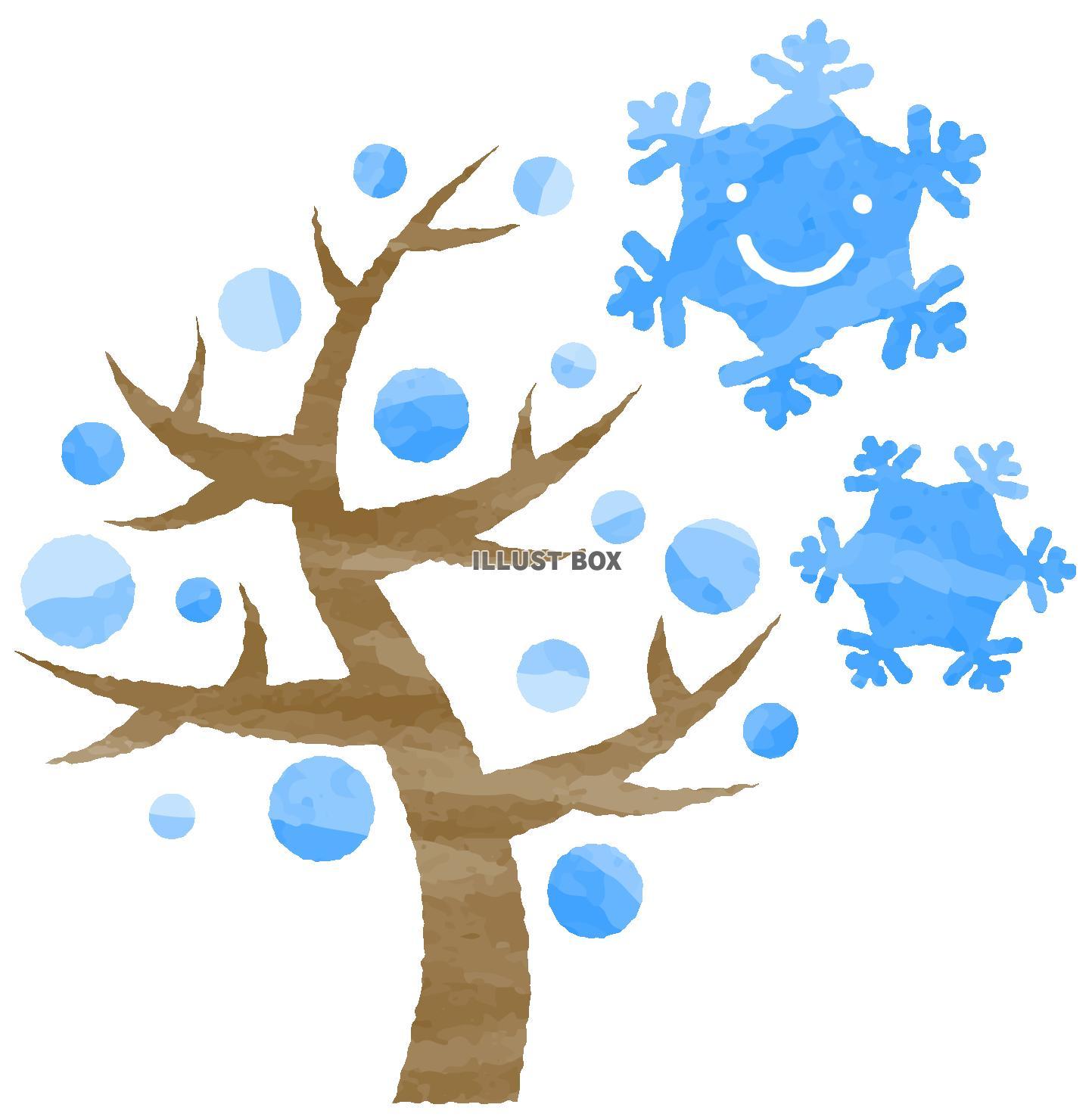 無料イラスト 手描き風笑顔の雪の結晶と冬の木