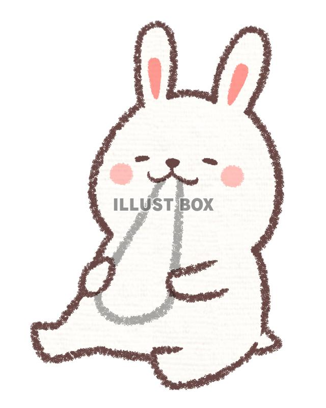 無料イラスト 餅食べウサギ