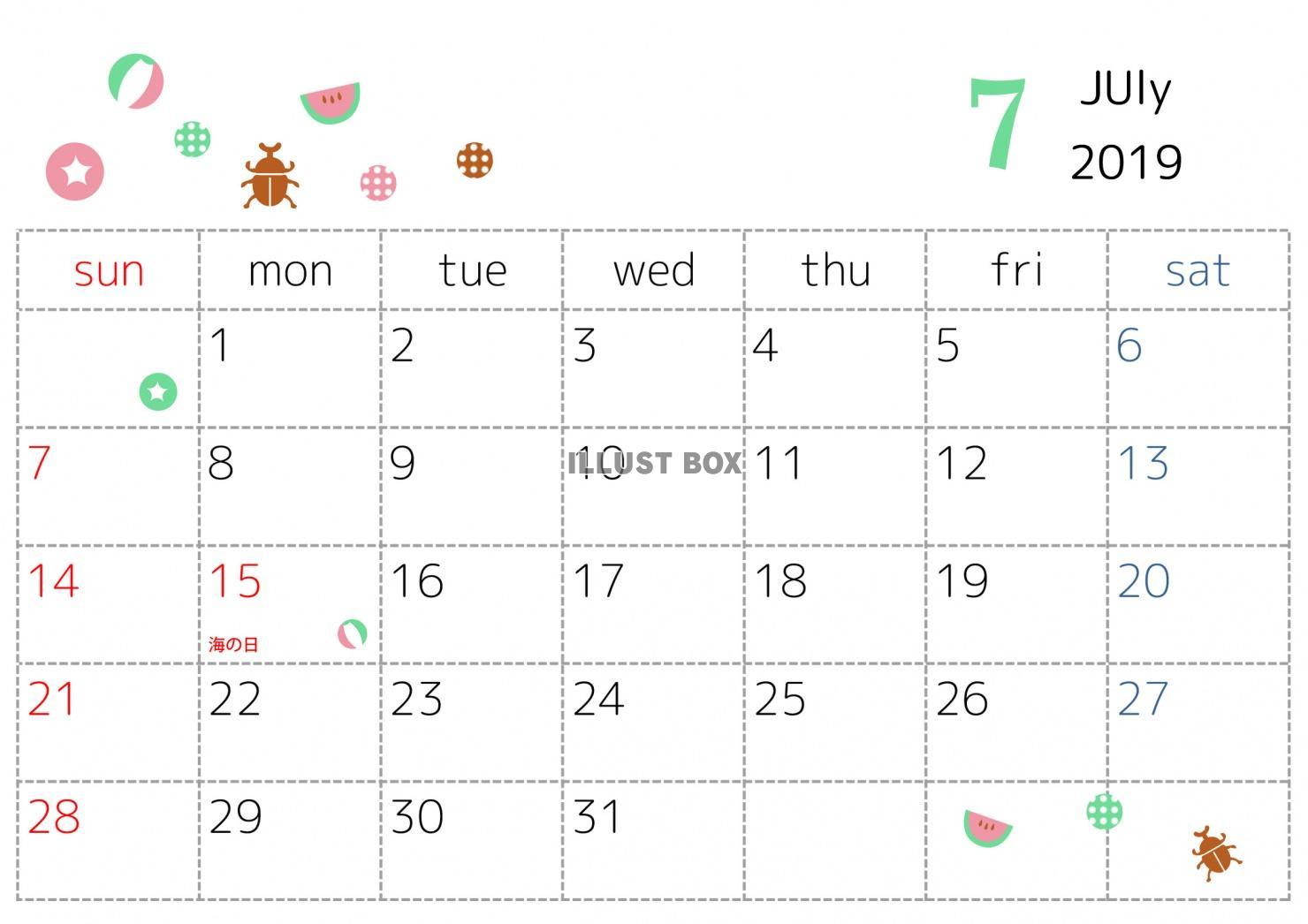 無料イラスト 19年7月カレンダー ドットとモチーフ