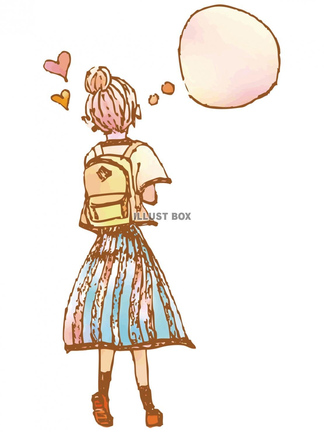無料イラスト 女の子手書き水彩イラストかわいい女性手描き背景