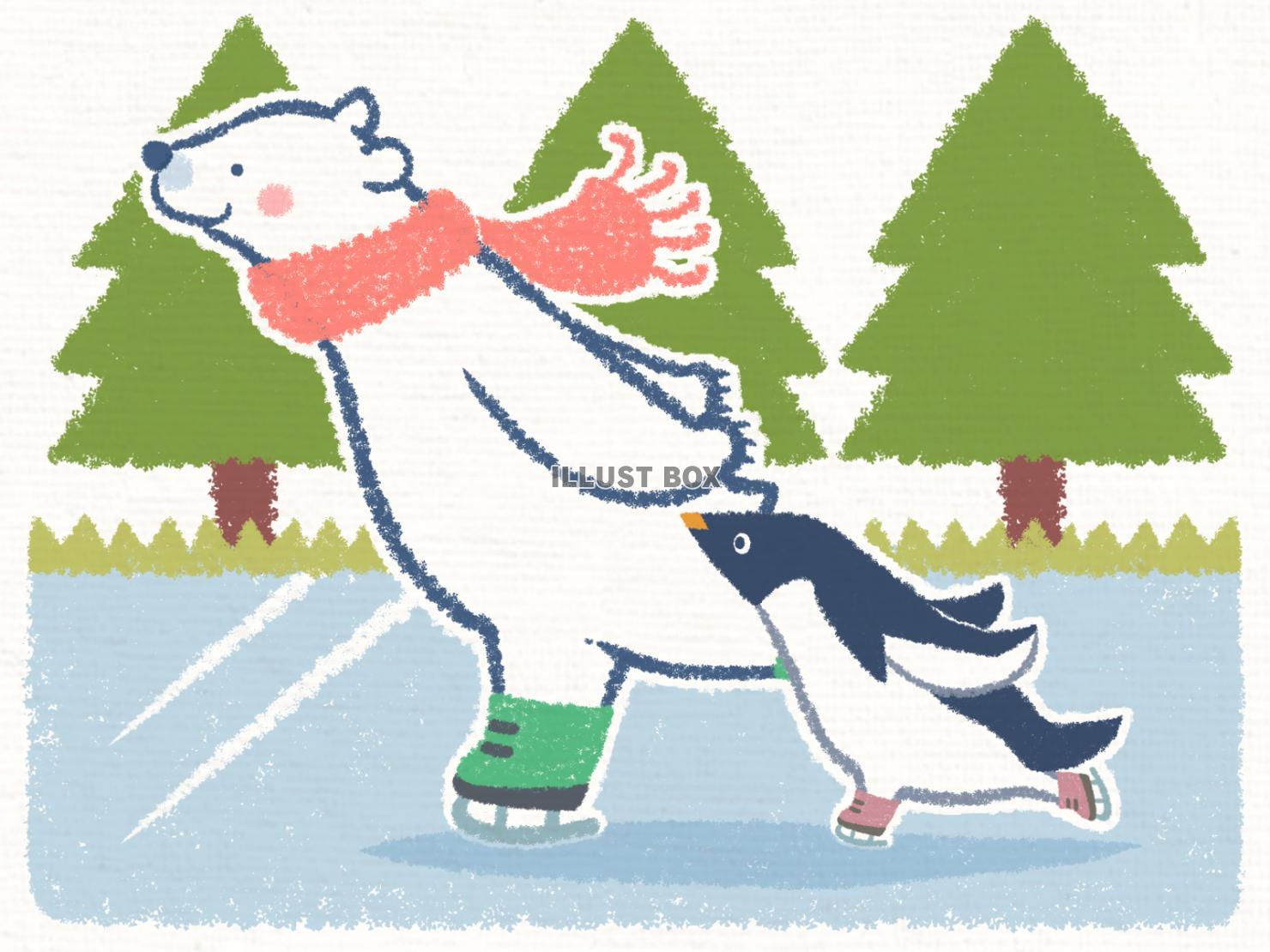 無料イラスト スケートシロクマペンギン背景入り