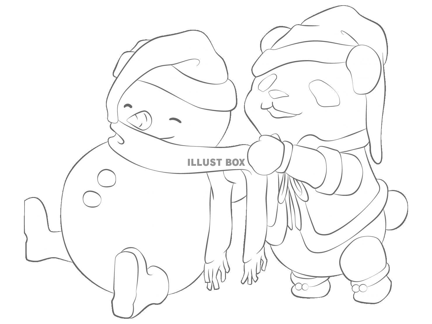 無料イラスト パンダのクリスマス塗り絵