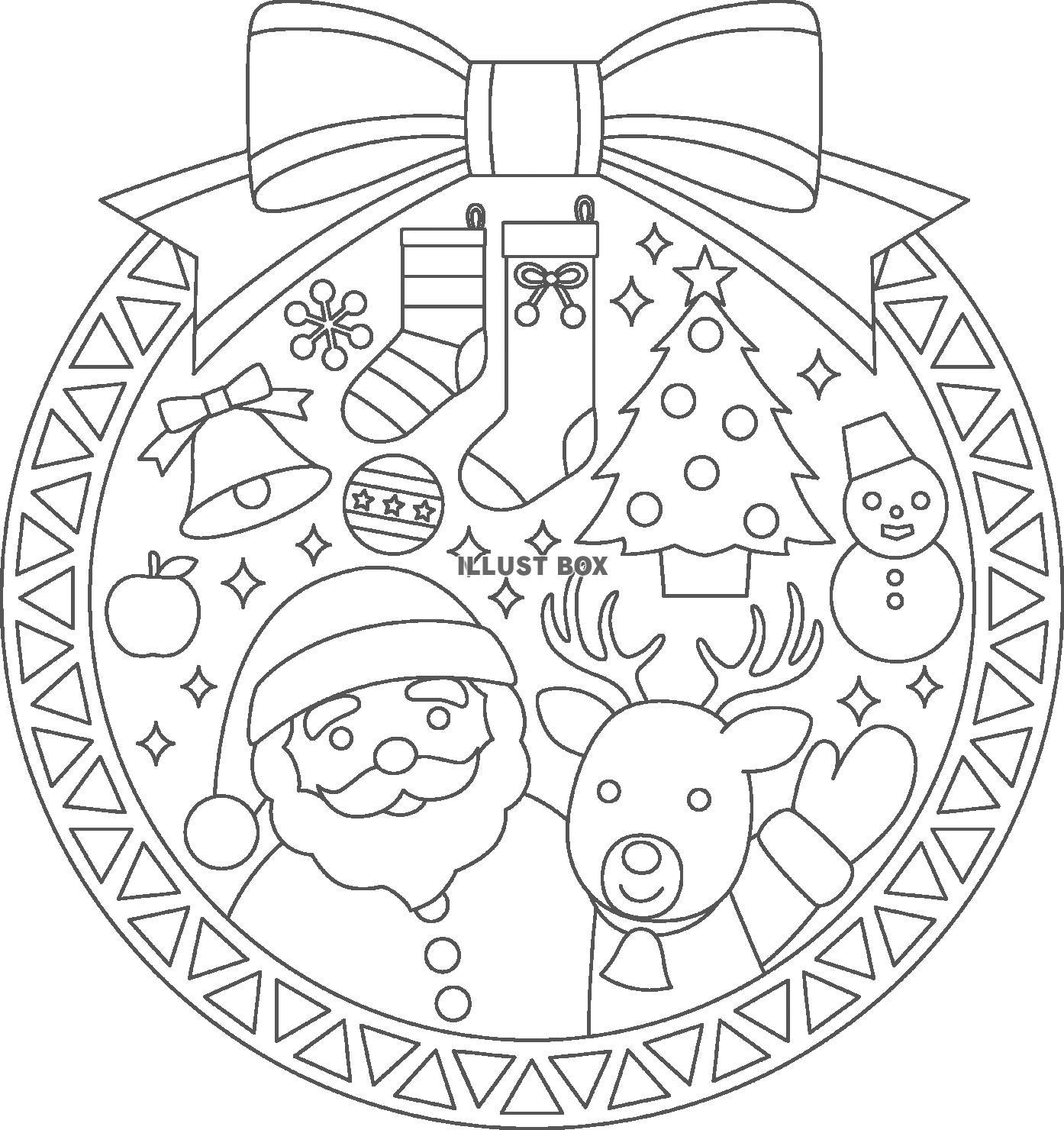 無料イラスト クリスマスのぬりえ1