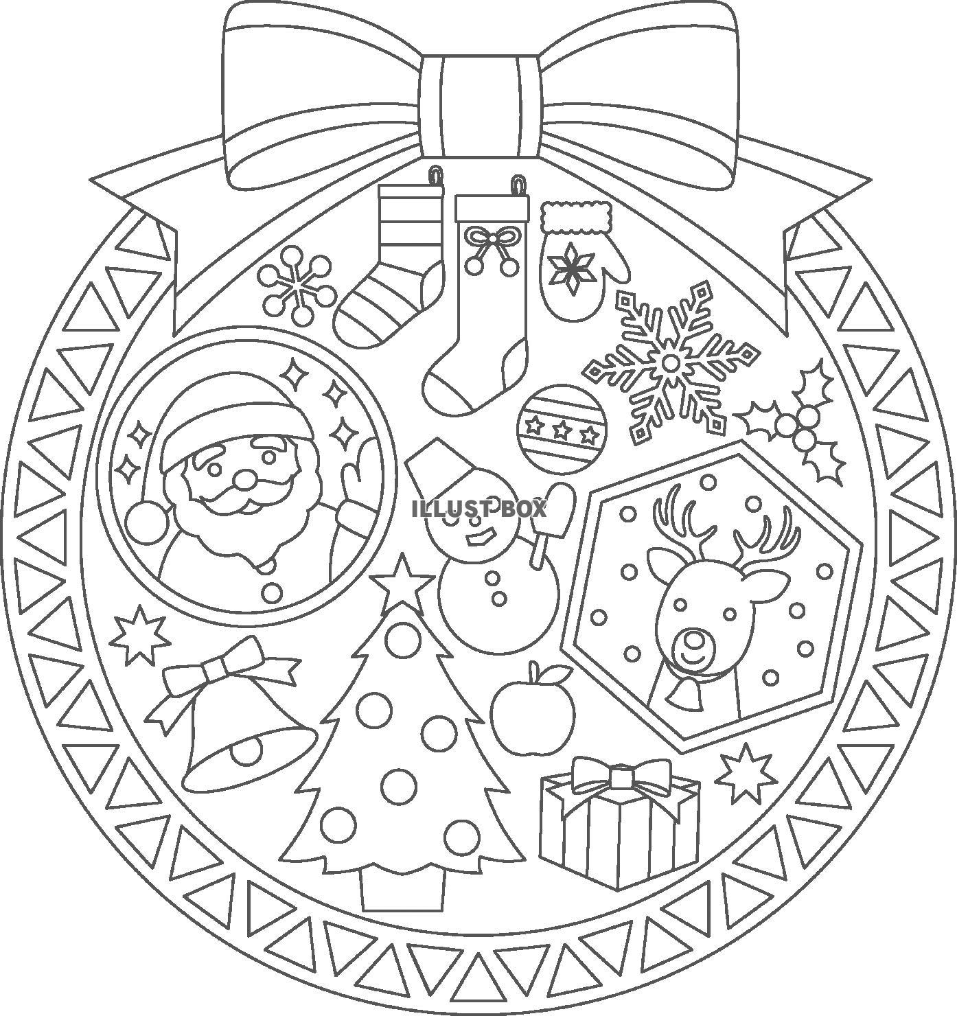 無料イラスト クリスマスのぬりえ2