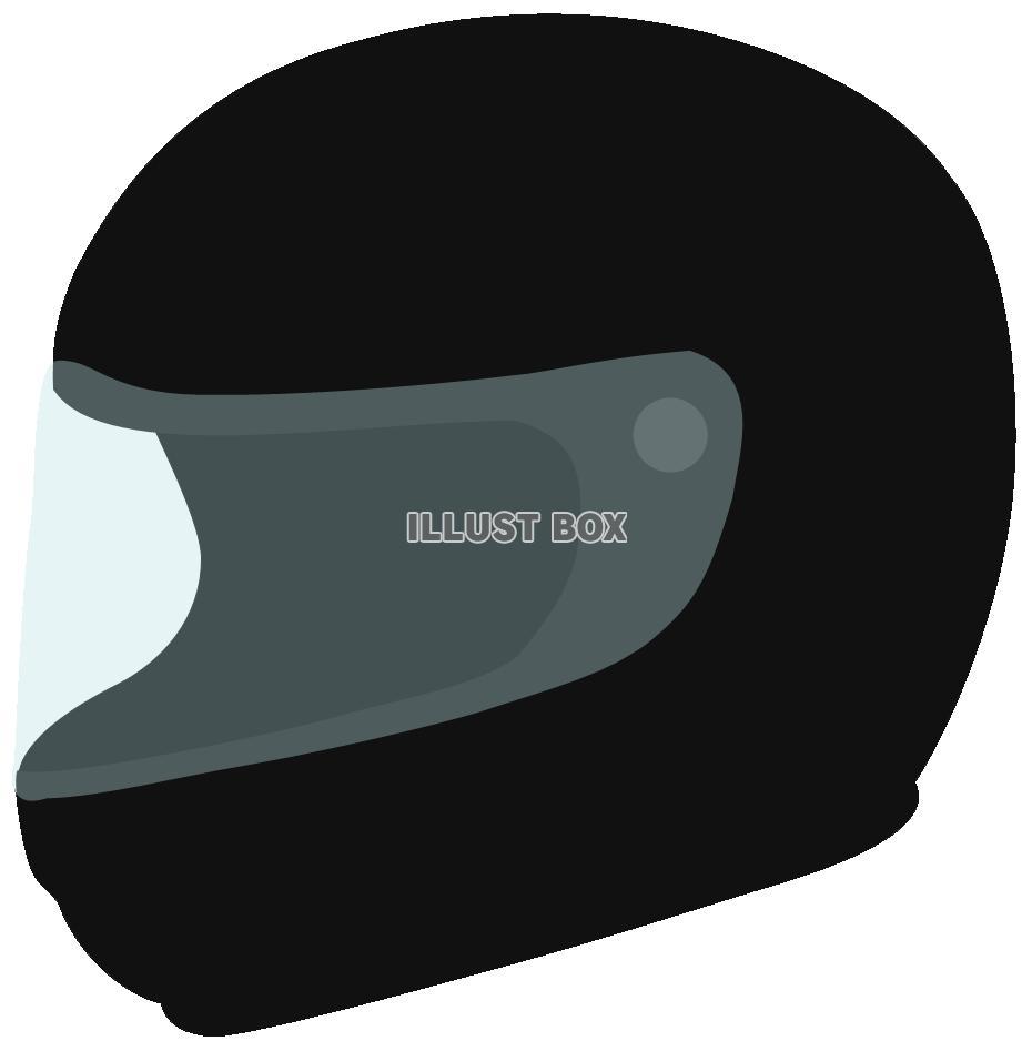 無料イラスト フルフェイス ヘルメット 黒オートバイバイク