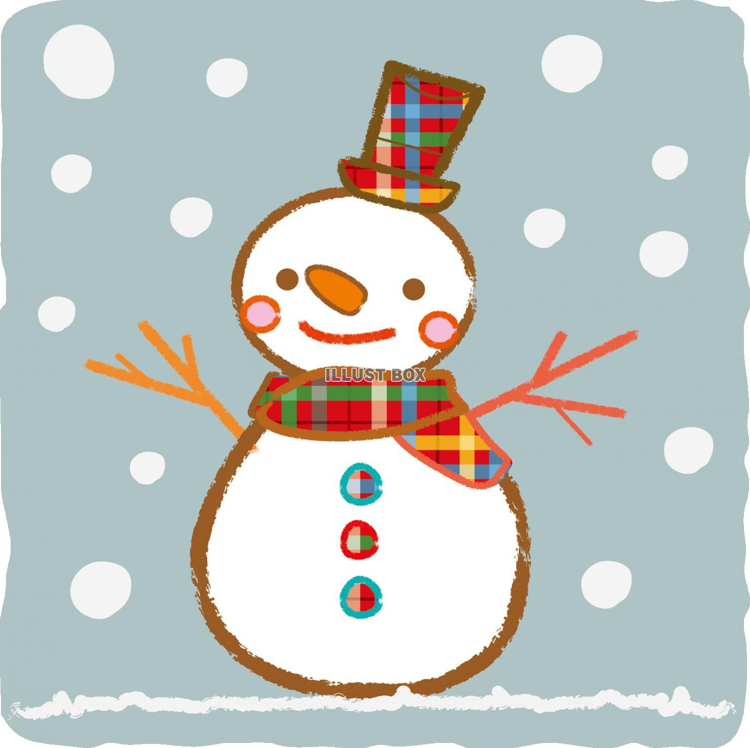 無料イラスト 雪だるま雪イラスト冬手書きシルエットかわいいシ