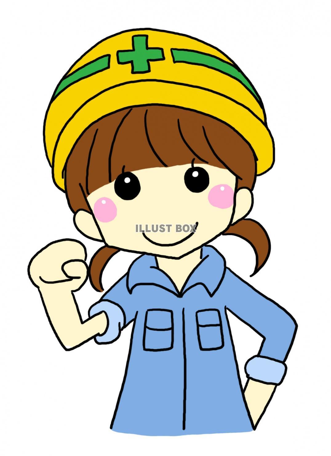 無料イラスト 工事現場の女の子