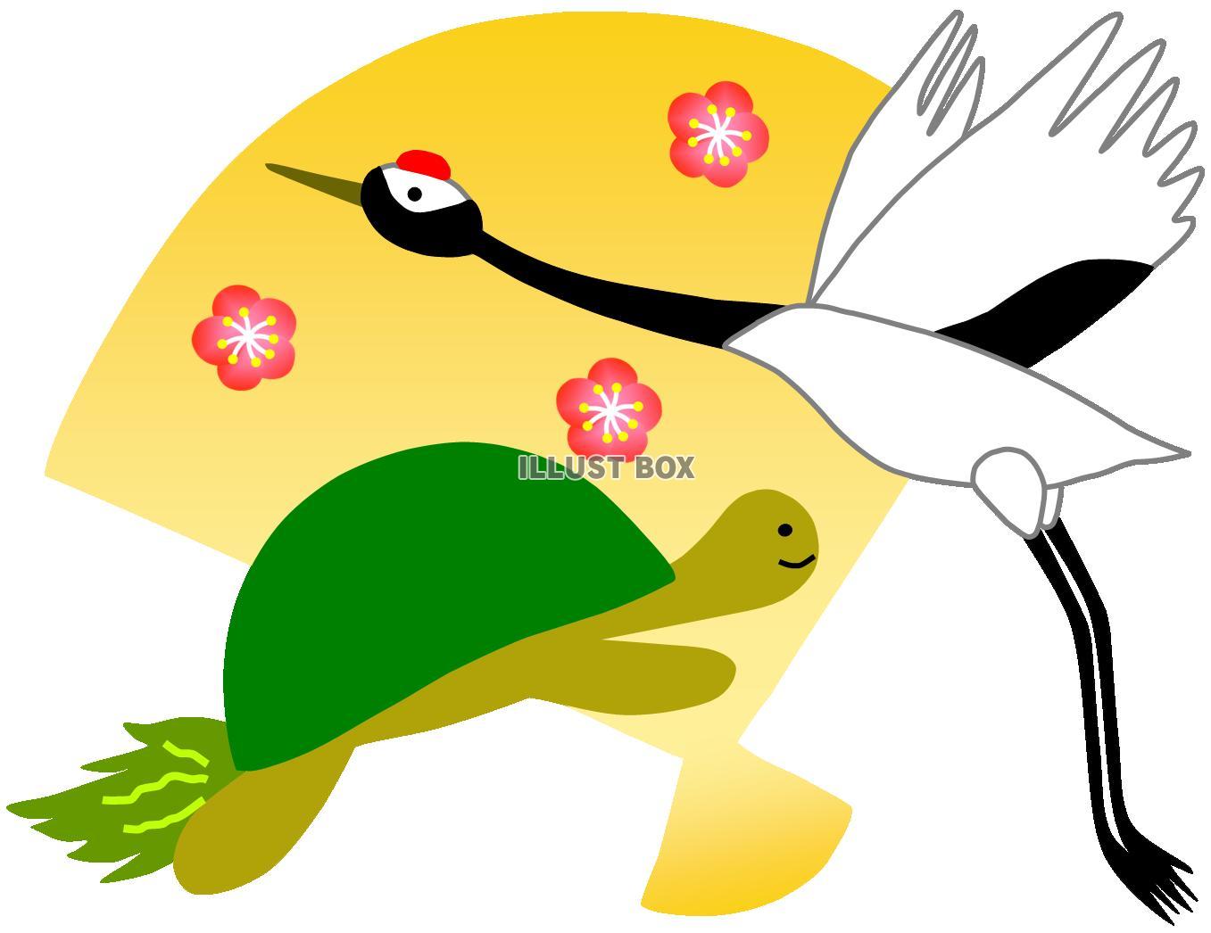 無料イラスト 鶴亀と扇(縁起物、敬老・長寿お祝い、結婚、年賀状)