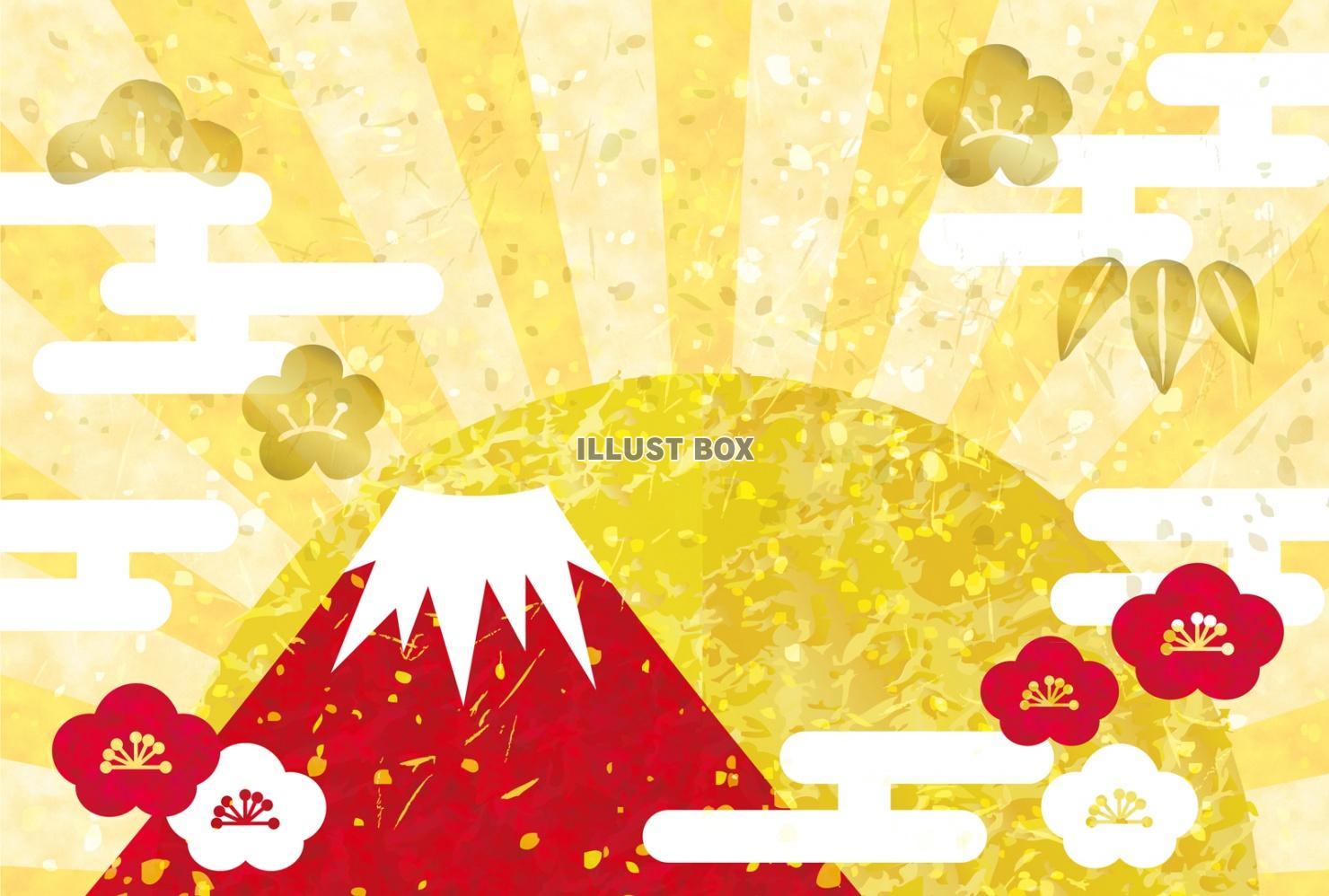 無料イラスト 赤富士 富士山 初日の出 年賀状 背景 正月 フレーム 謹