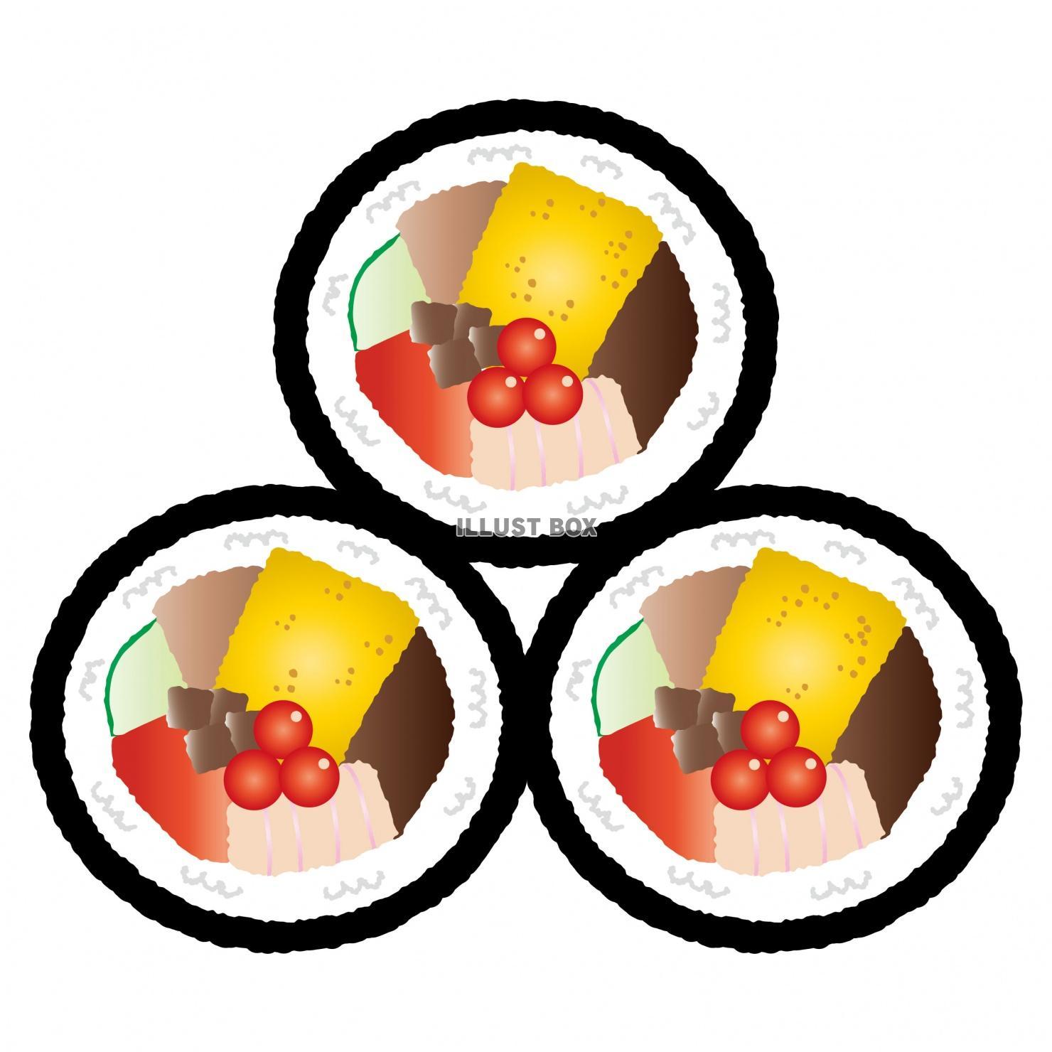 無料イラスト 食べ物0708恵方巻太巻き