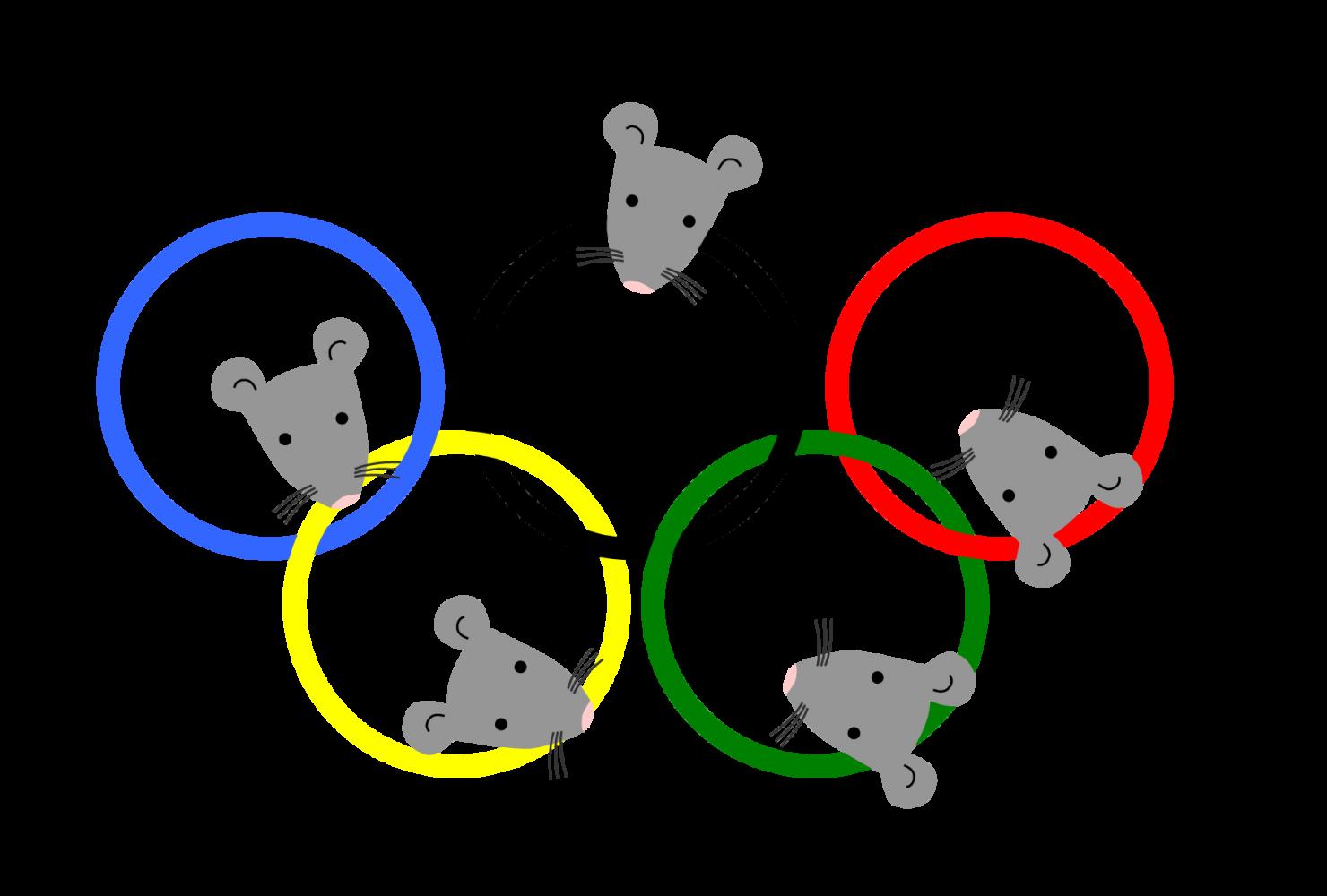 ねずみと五輪1 (ネズミ 子年年賀状素材 オリンピック)