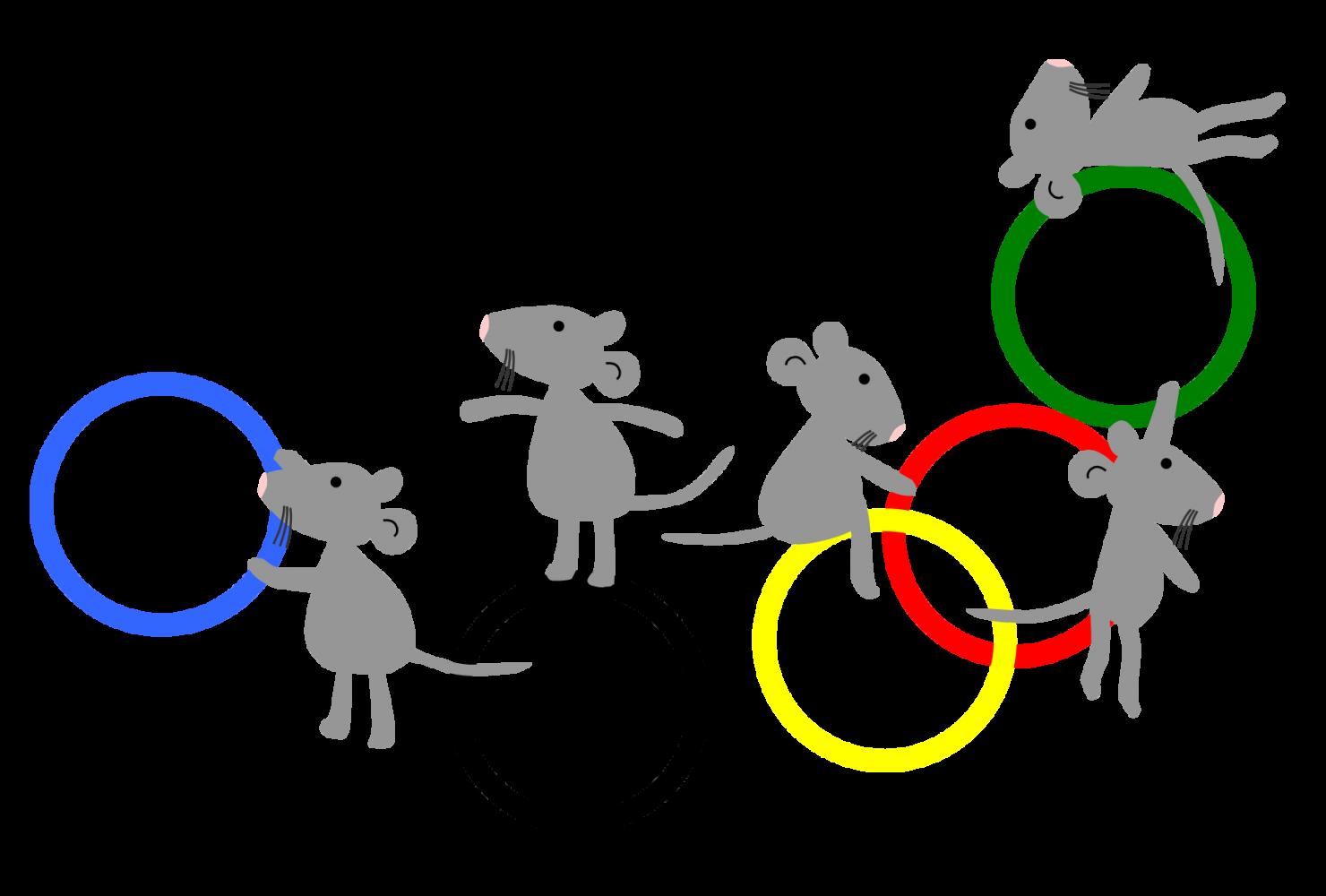 ねずみと五輪2 (ネズミ 子年年賀状素材 オリンピック)