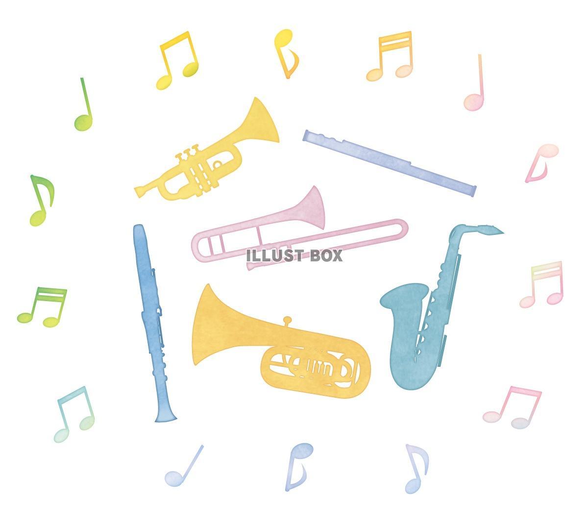 無料イラスト 水彩の楽器と音符サークル