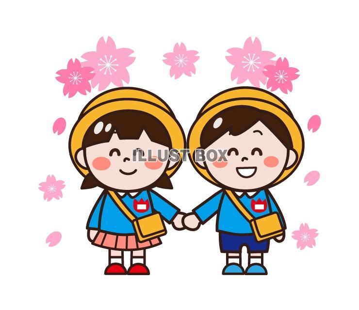 無料イラスト 幼稚園の入園式桜のイラスト