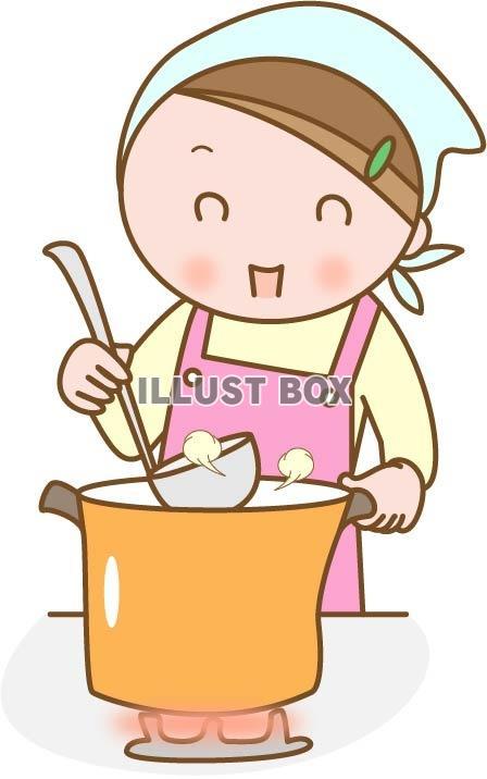 無料イラスト 料理をする女性