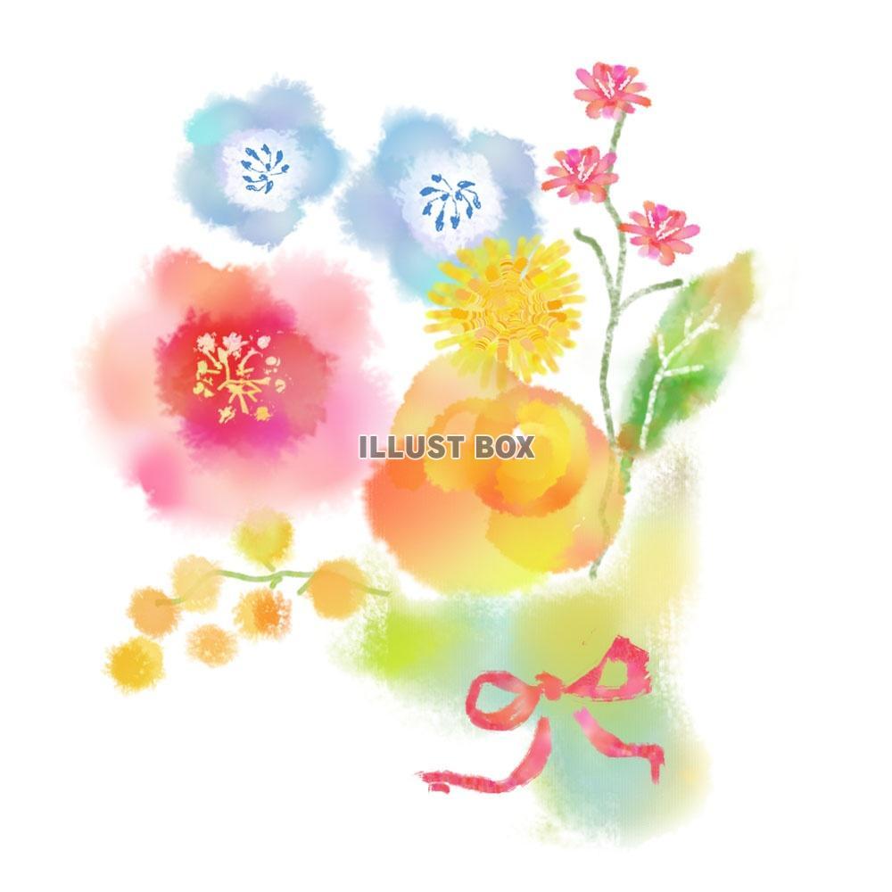 無料イラスト 春の花ブーケ水彩