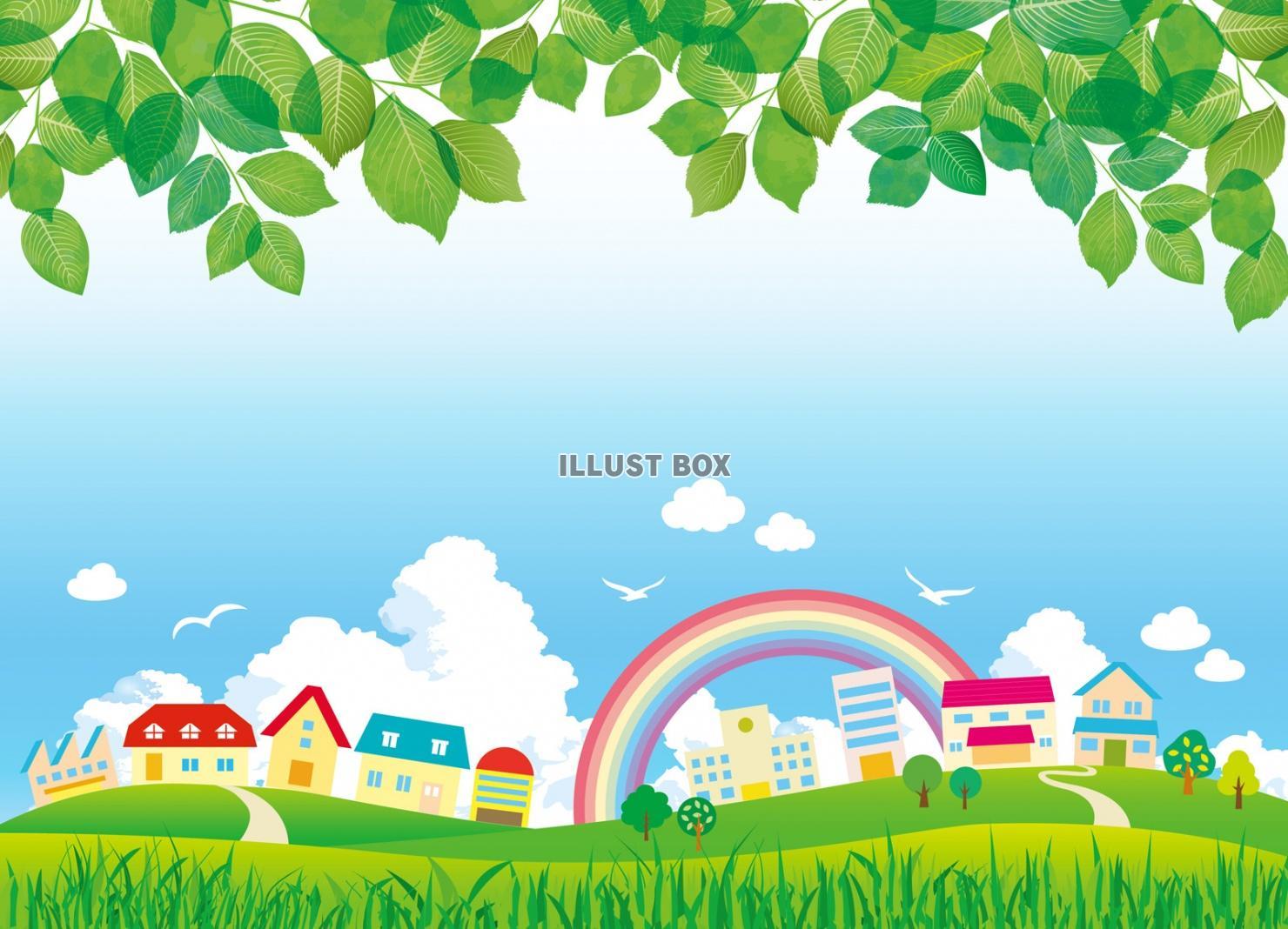 無料イラスト 背景 家 町並み 春 夏 イラスト 壁紙 初夏 新緑 景色