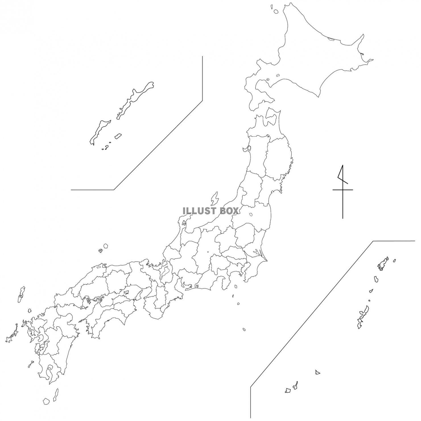 無料イラスト 白地図日本全国白地図地図日本地図日本全国イラスト
