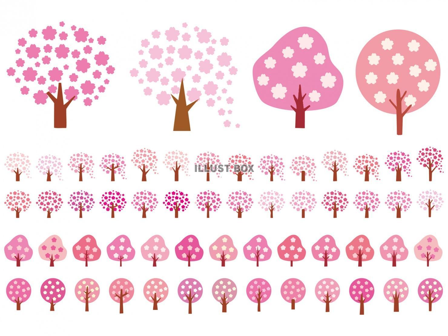 無料イラスト 桜アイコンシンプル木春花3月4月和飾りイ