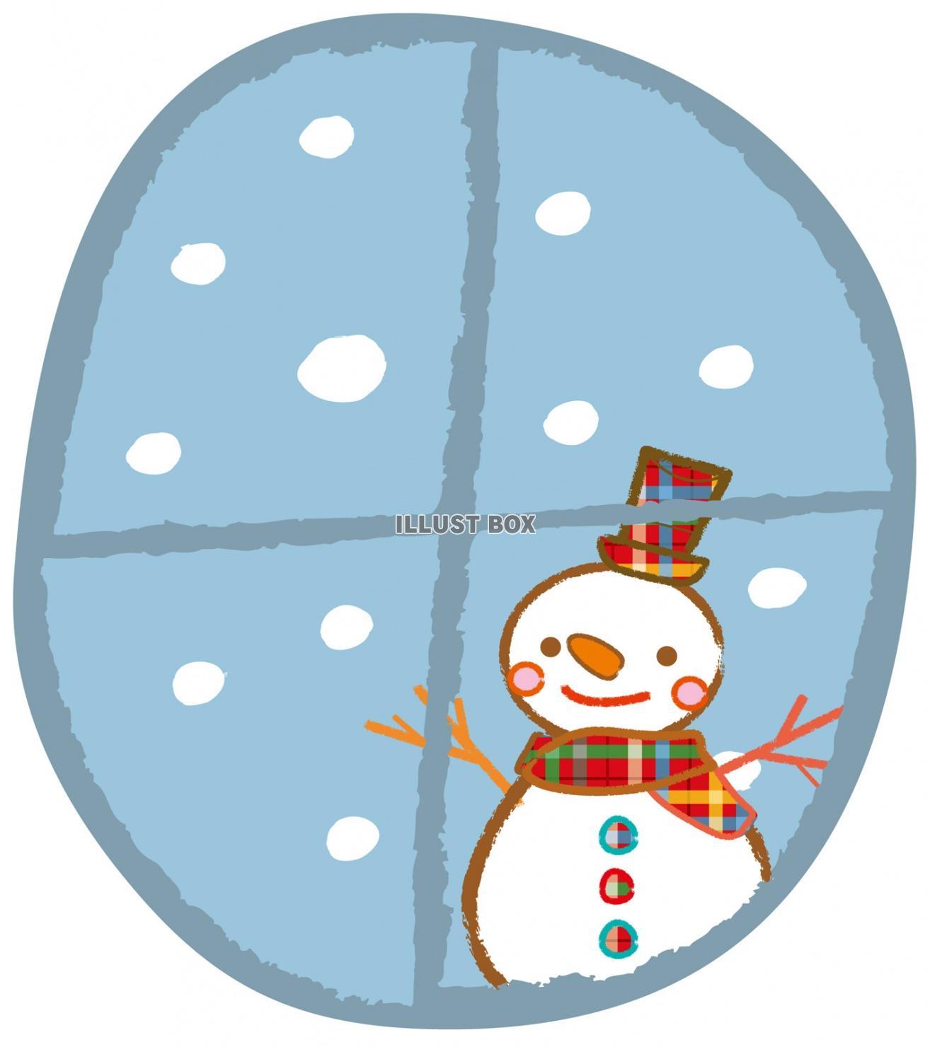 無料イラスト 雪だるま,雪,イラスト,冬,手書き,シルエット