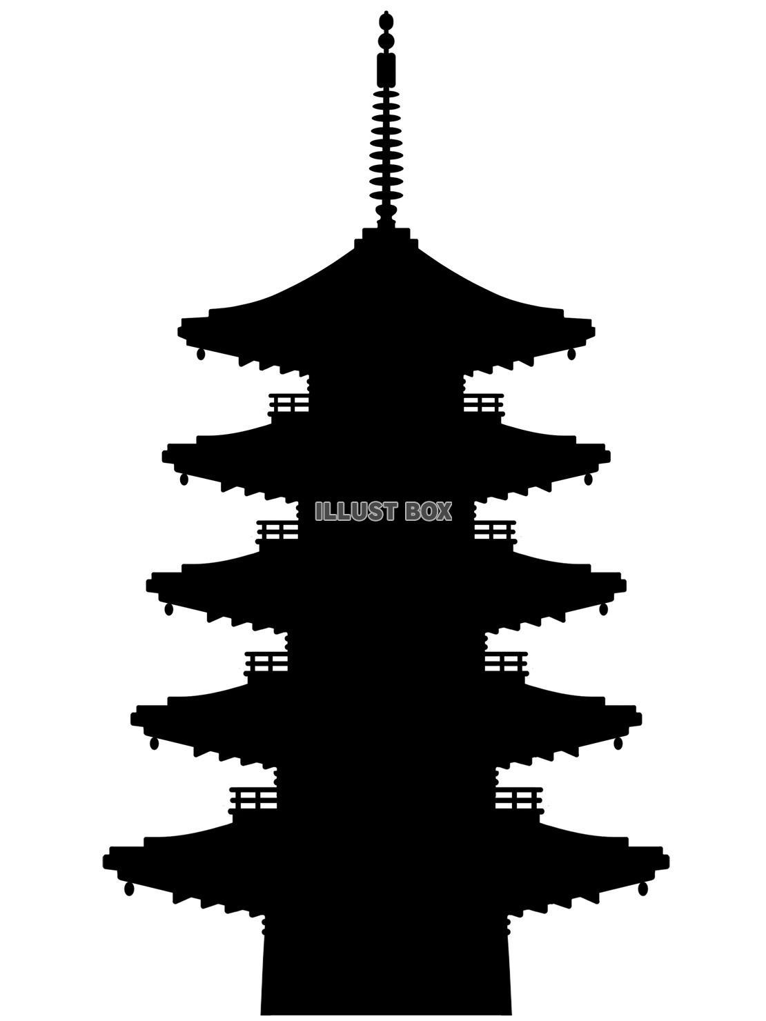 無料イラスト 五重塔壁紙シンプル背景素材イラスト