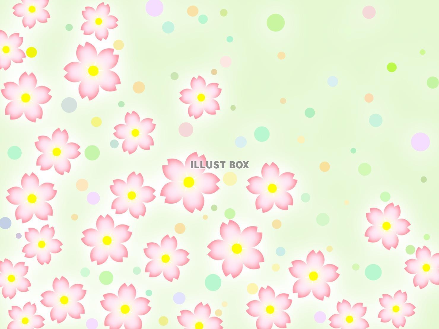無料イラスト 桜の花柄と水玉模様の壁紙背景素材イラスト