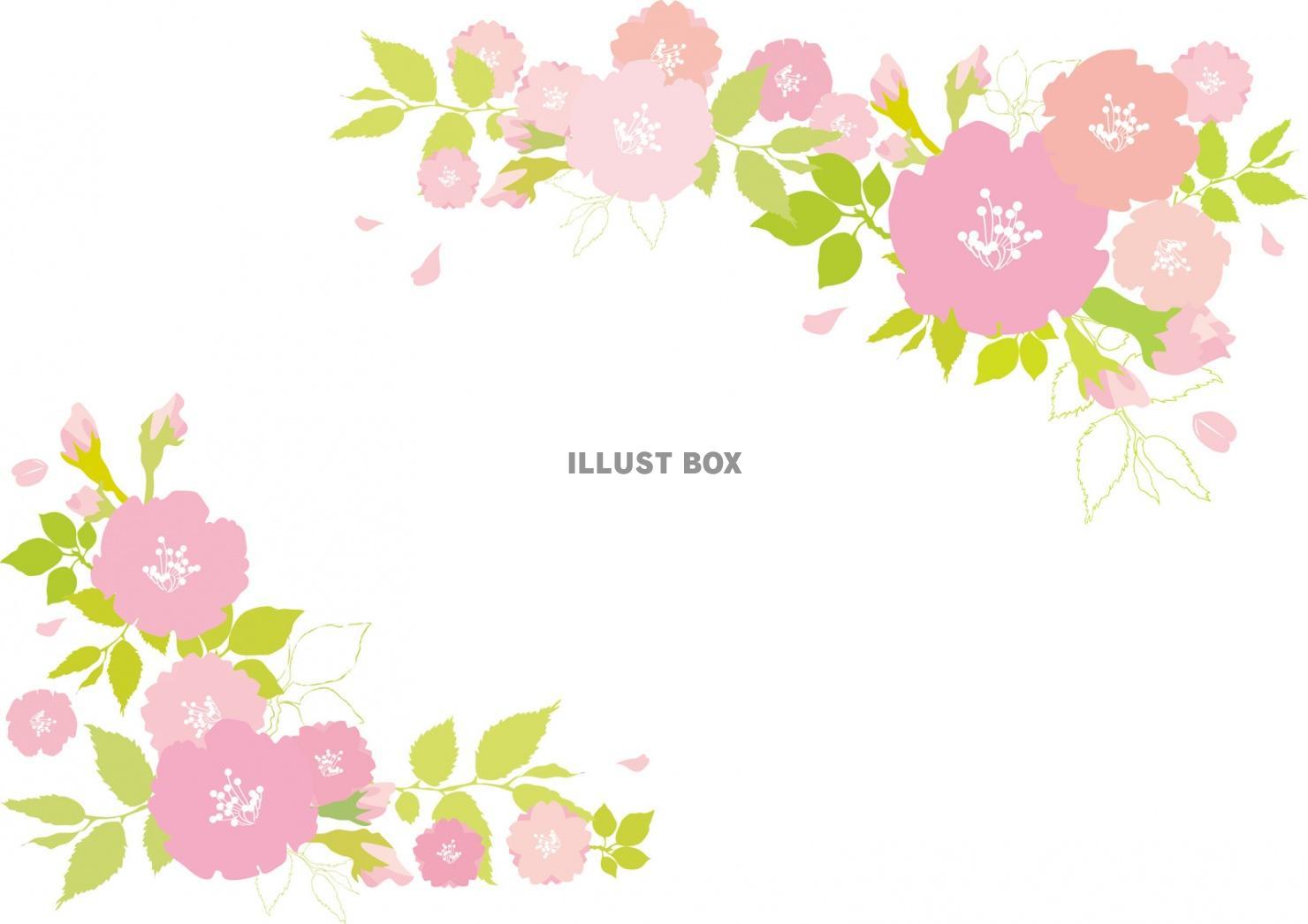 無料イラスト 桜おしゃれフレーム枠背景 飾り さくら 壁紙枠 花 手書き和