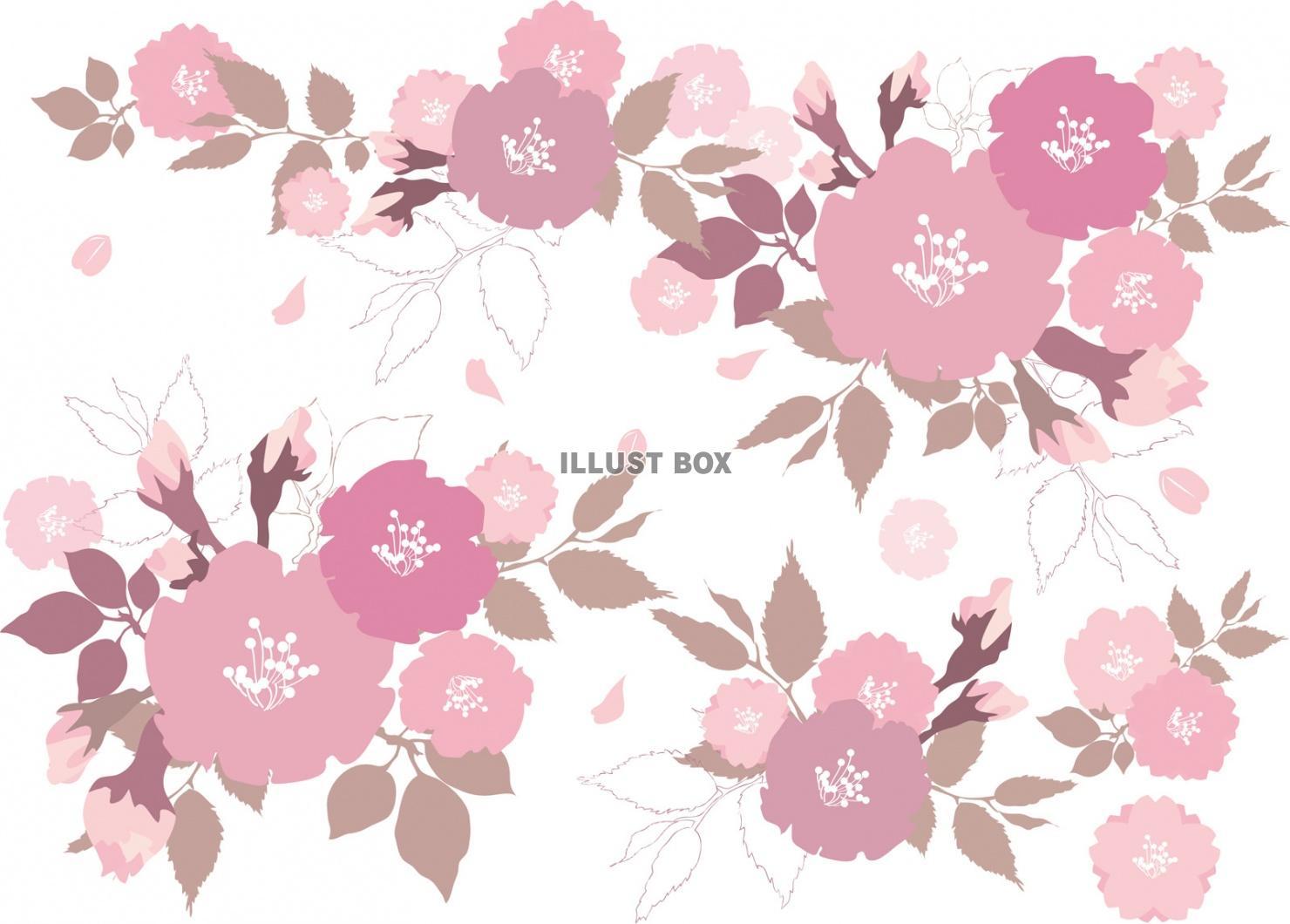 無料イラスト 桜飾りおしゃれフレーム枠レトロ和春花イラスト3月