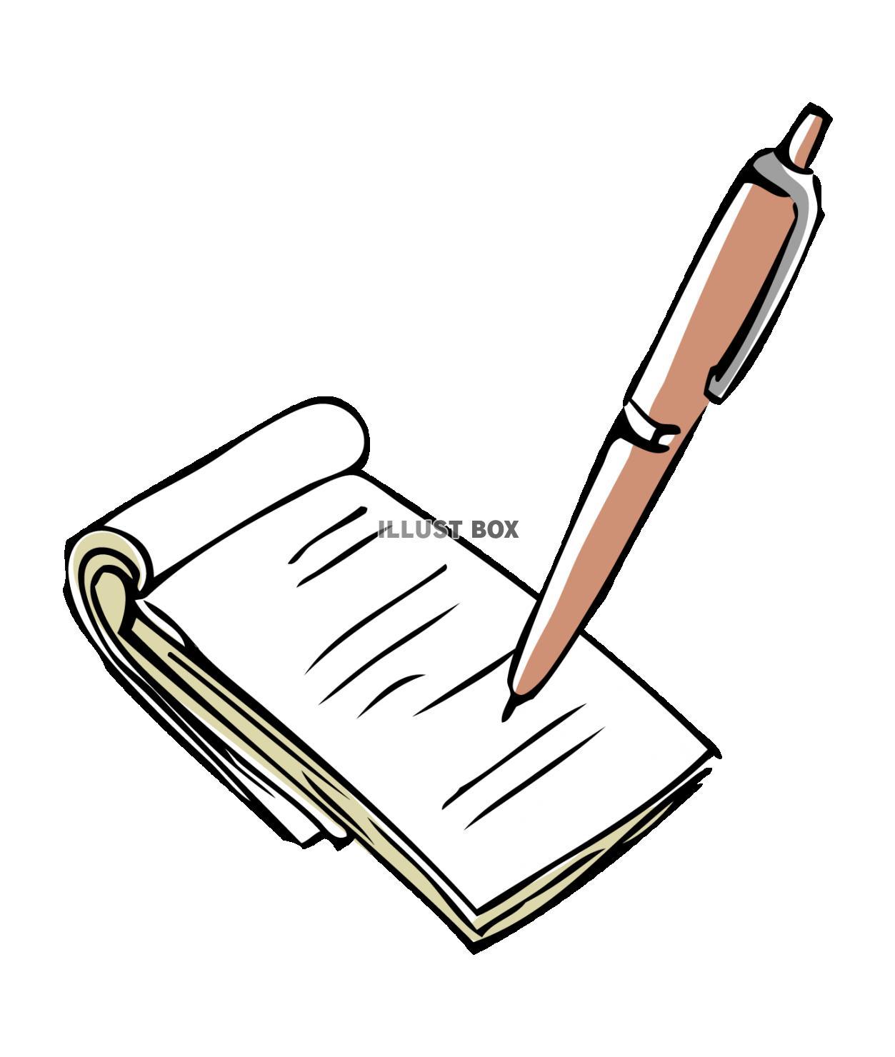 無料イラスト ペンとメモとボールペンとメモ帳メモに取る書く聞き取り