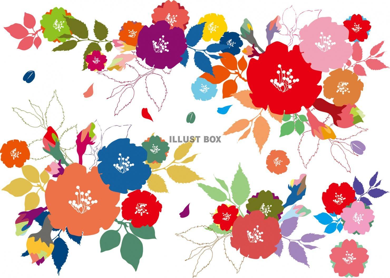 無料イラスト 花飾り春カラフル花束ブーケかわいい装飾手書き背景おしゃれブラ