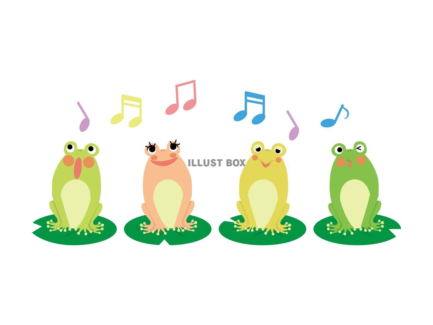無料イラスト カラフルなカエルの合唱
