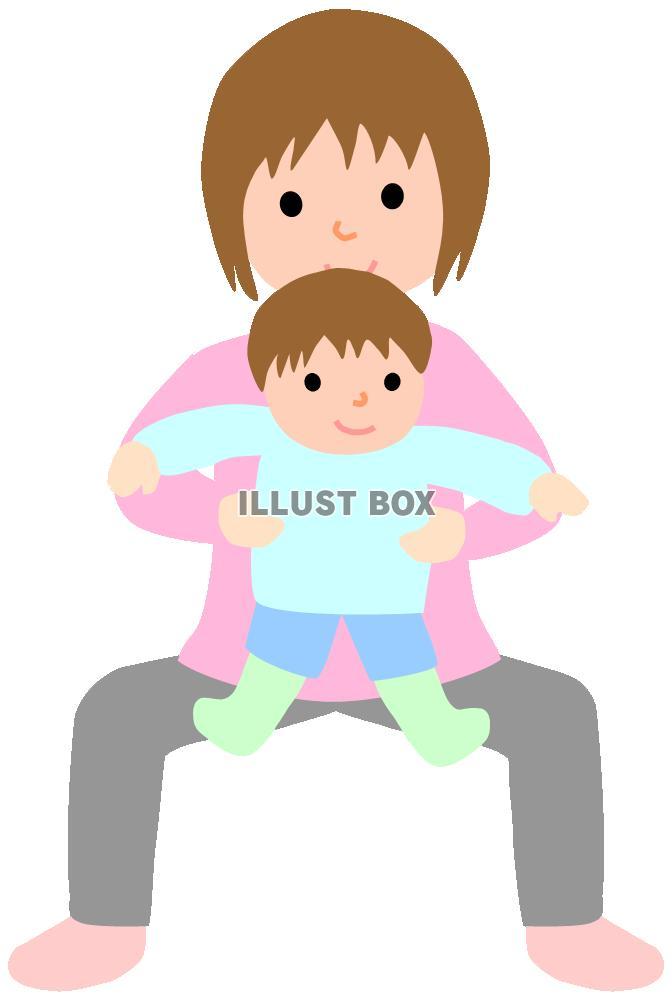 無料イラスト 赤ちゃんとヨガをするママ2