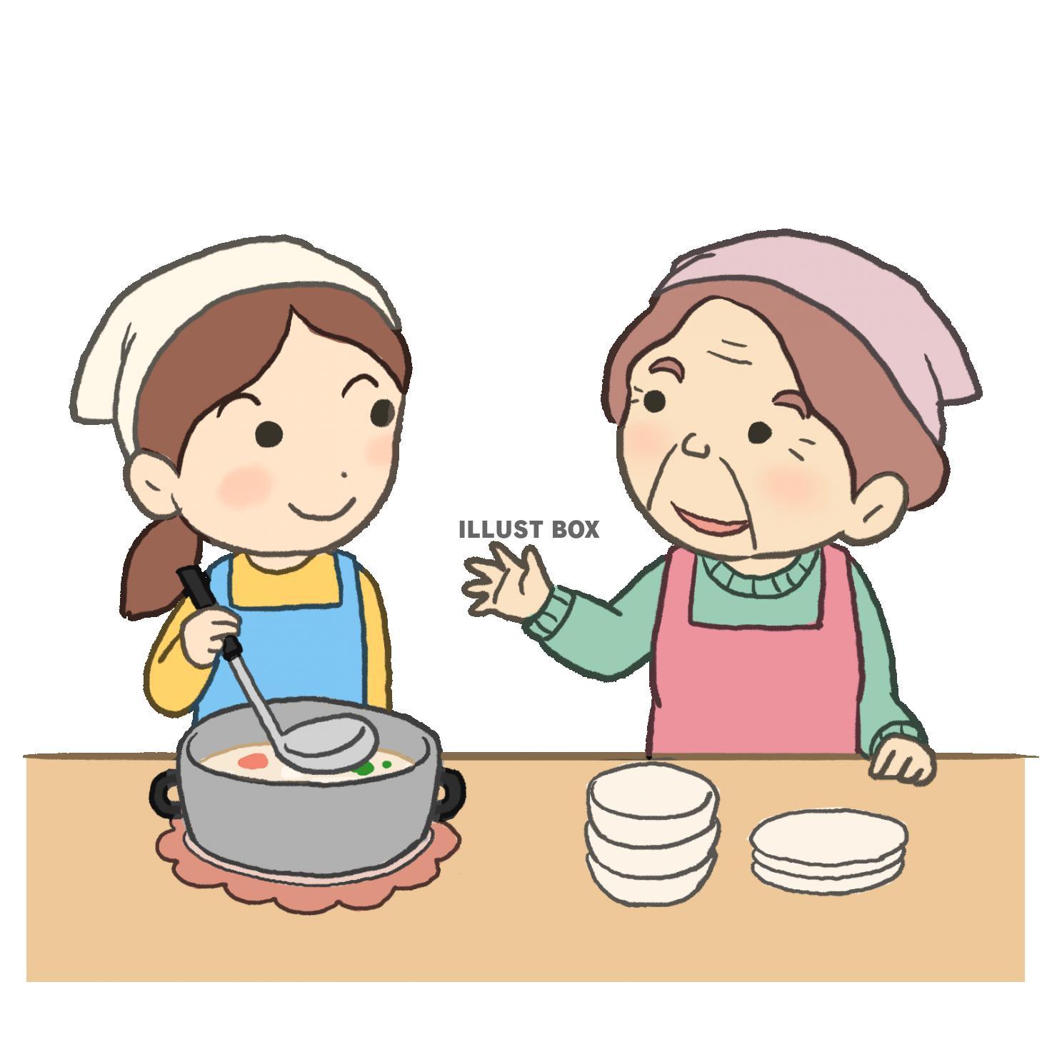 無料イラスト 孫と料理
