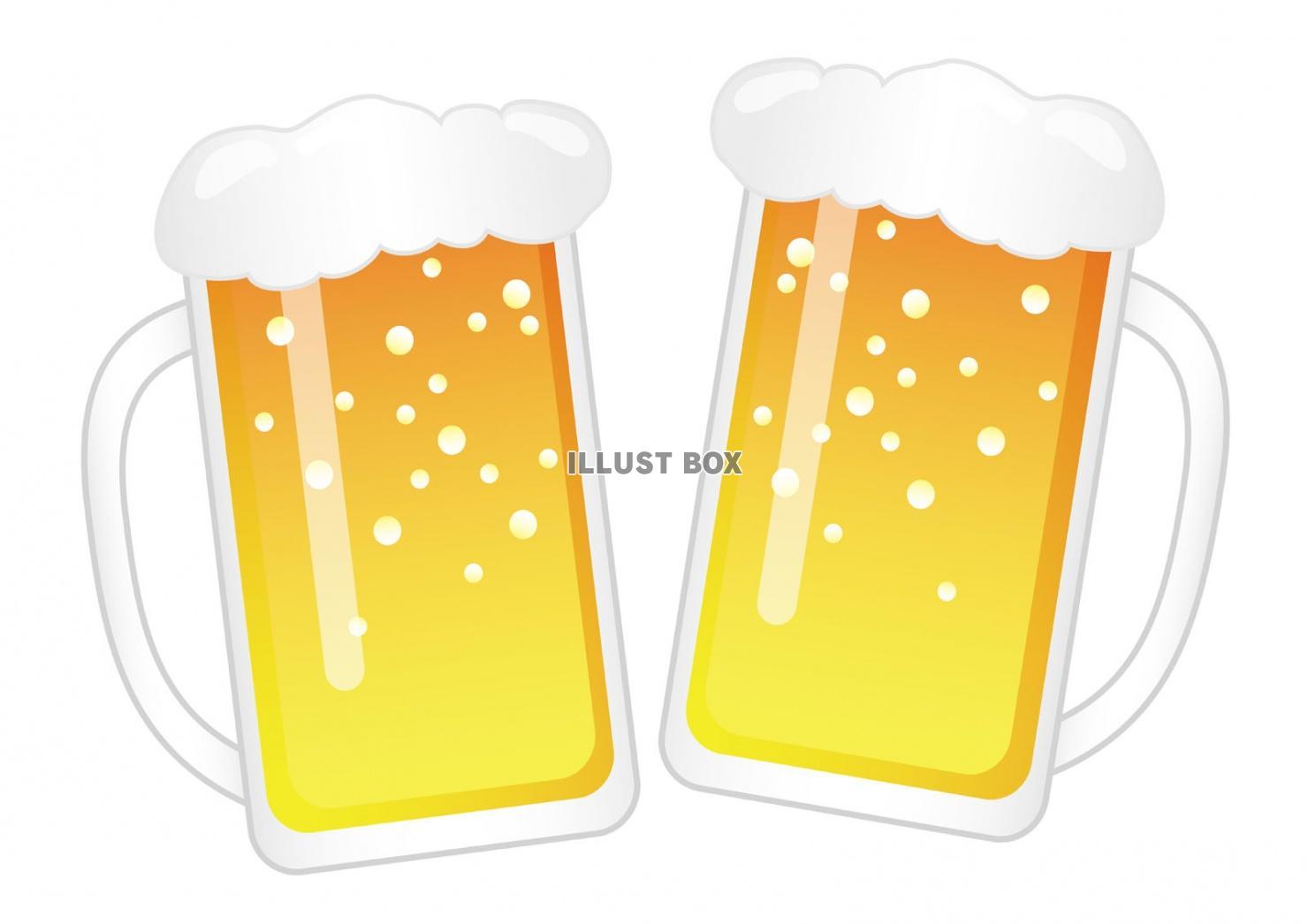 無料イラスト 乾杯 ビールジョッキのイラスト