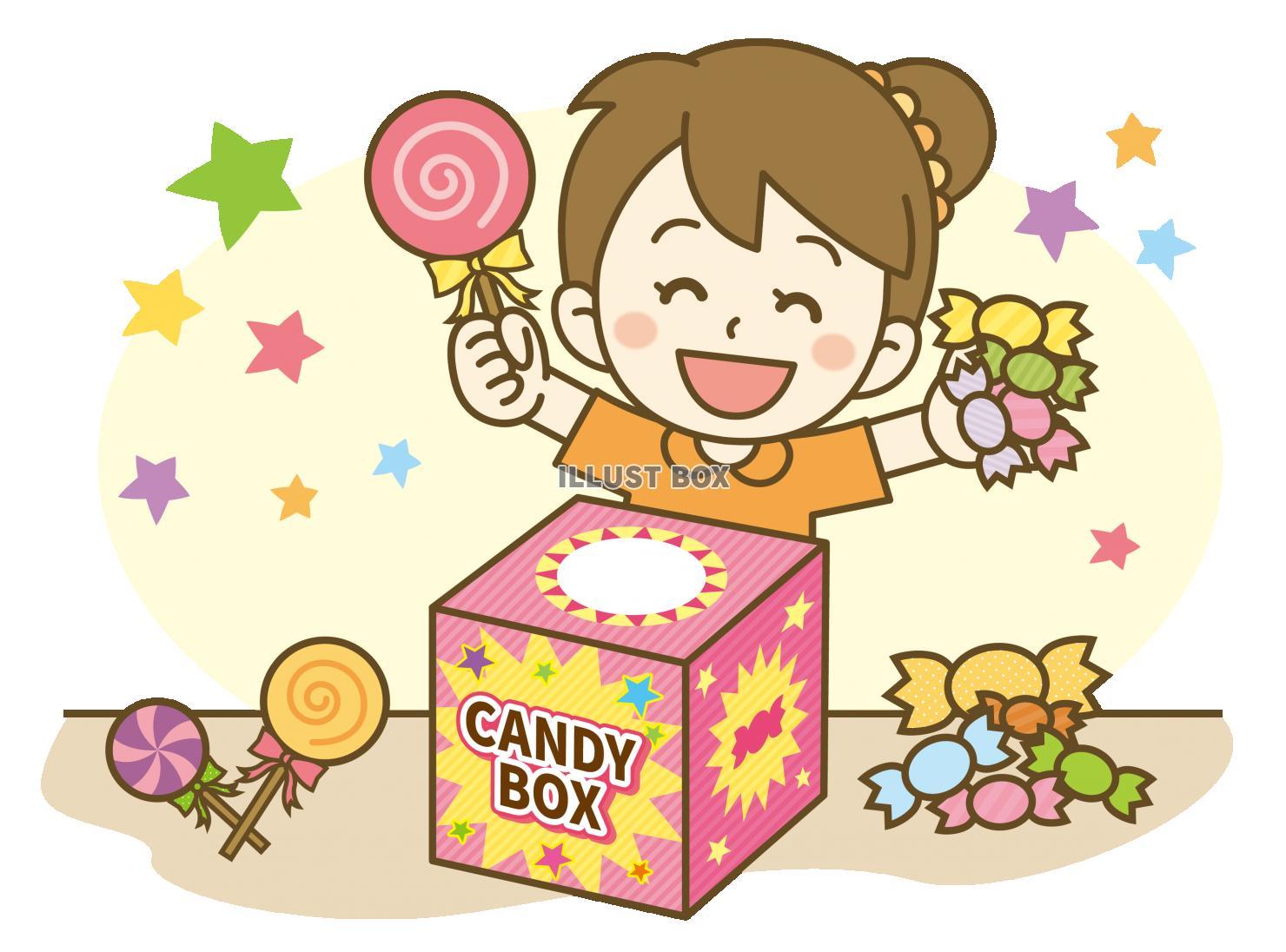無料イラスト お菓子つかみどり女の子
