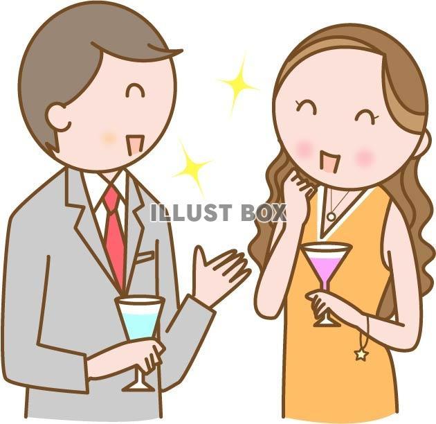 無料イラスト 婚活飲み会の男女
